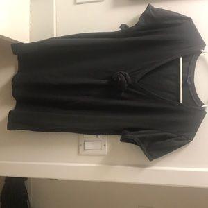 Gap Dark Slate Grey V-Neck T-shirt with Rosette XL